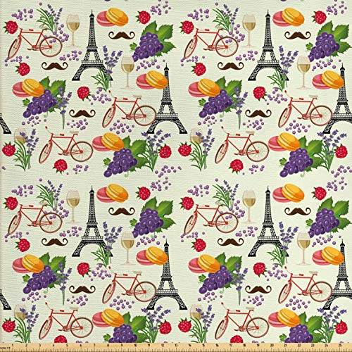 Ambesonne European Fabric by The Yard, French Themed Paris Must Have Macarons Wines Grapes Bikes Berries Eiffel Art Print, Decorative Fabric for Upholstery and Home Accents, 2 Yards, Purple Cream (Grape Fabric By The Yard)