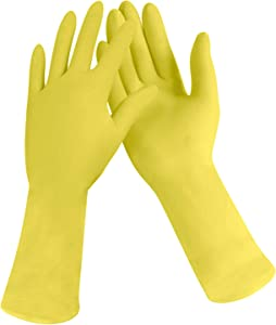 [12 Pairs] Dishwashing Gloves - 11 Inches Small Rubber Gloves, Yellow Flock Lined Heavy Duty Kitchen Gloves, Long Dish Glove for Household Cleaning, Strong Utility Work, Painting, Gardening