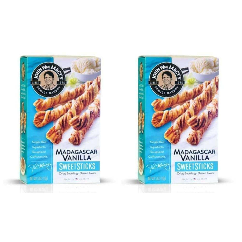 John Wm. Macy's Madagascar Vanilla SweetSticks, Natural Crunchy Pastry Twists, 5 Ounce Box (Pack of 2)