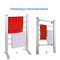 Sharndy ETW78 Free-Standing Electric Towel Warmers, 895 x 555 x 355mm, Silver Grey