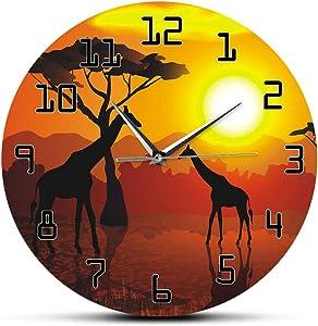 The Geeky Days Wildlife Giraffe Wall Art Decorative Silent Wall Clock Serengeti African Sunset Savannah Safari Wall Decor Hanging Timepiece Wall Watch