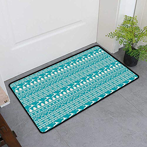 (Custom&blanket Commercial Grade Entrance Mat, Nordic Doormats for High Traffic Areas, Christmas Elements Trees Stars Reindeers and Candy Canes Vintage Illustration (Turquoise Cream, H32 x W48) )