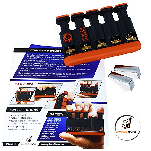 Epitomie Fitness Finger Master: Deluxe Hand Finger Exerciser & Strengthener for Arthritis, Carpal Tunnel, Guitar Playing, Rock Climbing, Sports & Trigger Finger Training All Five Fingers Adjustable