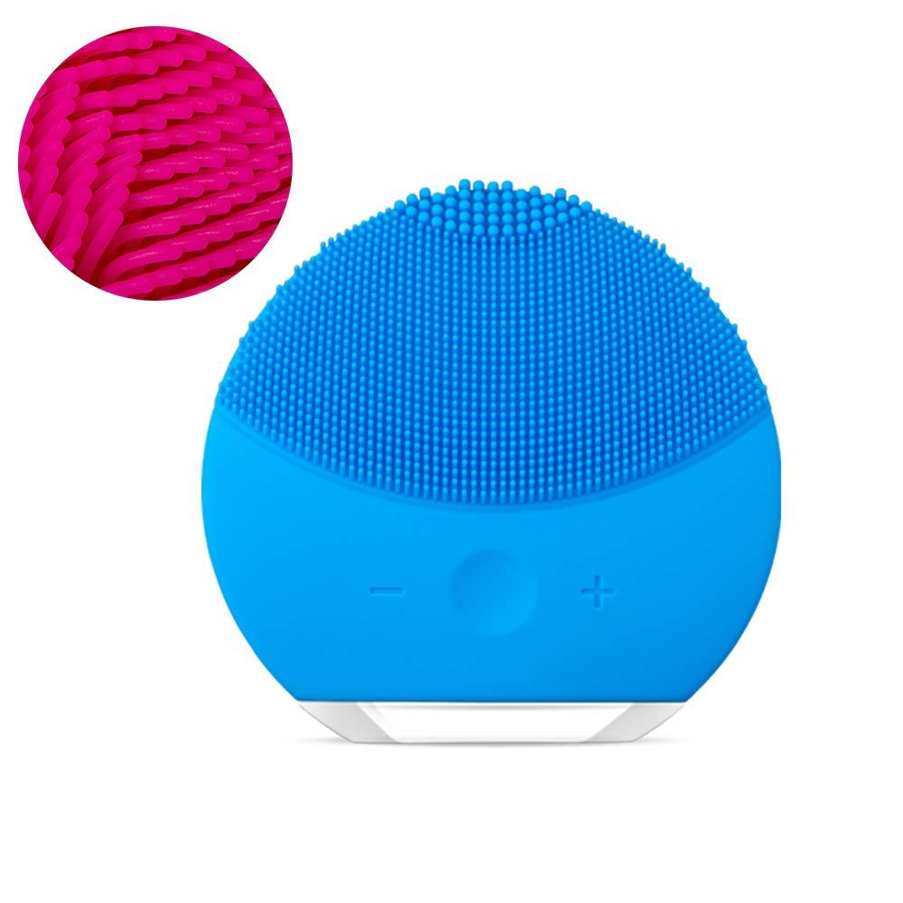 洗顔ブラシ、電気シリコーンフェイスマッサージャーブラシ防水ディープエクスフォリエーターメイクアップツールきれいなにきび美容機器 B07V7V9935 Blue
