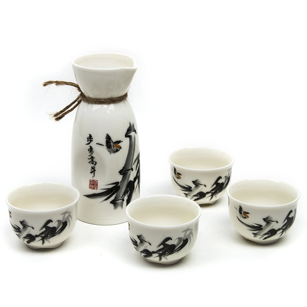 5 Piece Japanese Sake Cup Set with Bamboo Cup Clip Calligraphy Bamboo Hand Painted Design Porcelain Pottery Traditional Ceramic Cups Crafts Wine Glasses QJH-07