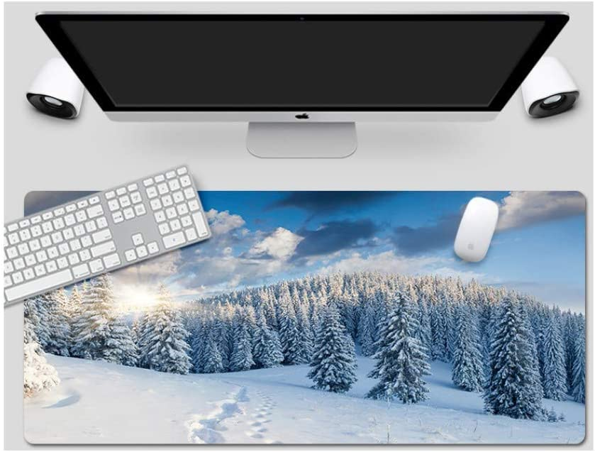 Suitable for Desktop Computer//Notebook,1200x600mmx4mm Large Padded Waterproof Non-Slip Keyboard Pad Mouse Pad Snow Fir Day Style Desk Pad