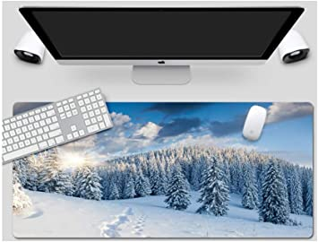 Suitable for Desktop Computer//Notebook,1200x600mmx5mm Mouse Pad Snow Fir Day Style Desk Pad Large Padded Waterproof Non-Slip Keyboard Pad