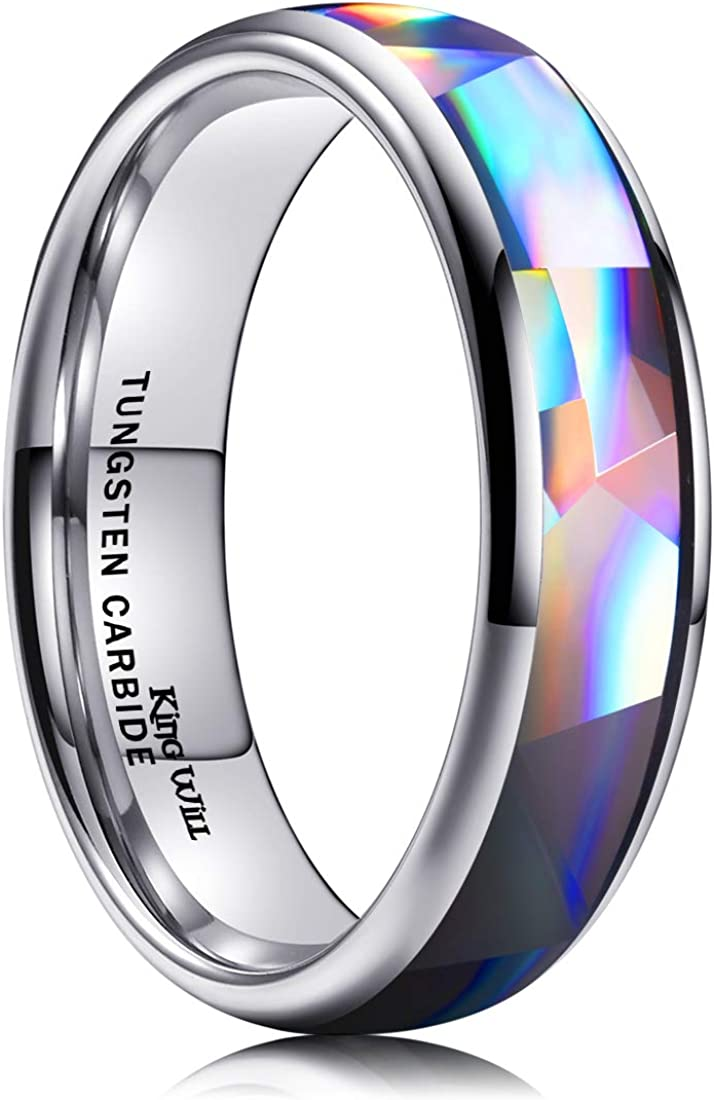 King Will Men's 4mm 6mm 8mm Silver/Rose Gold Tungsten Carbide Ring Inlaid Triangle White/Blue Opal Sticker Dome Wedding Engagement Band