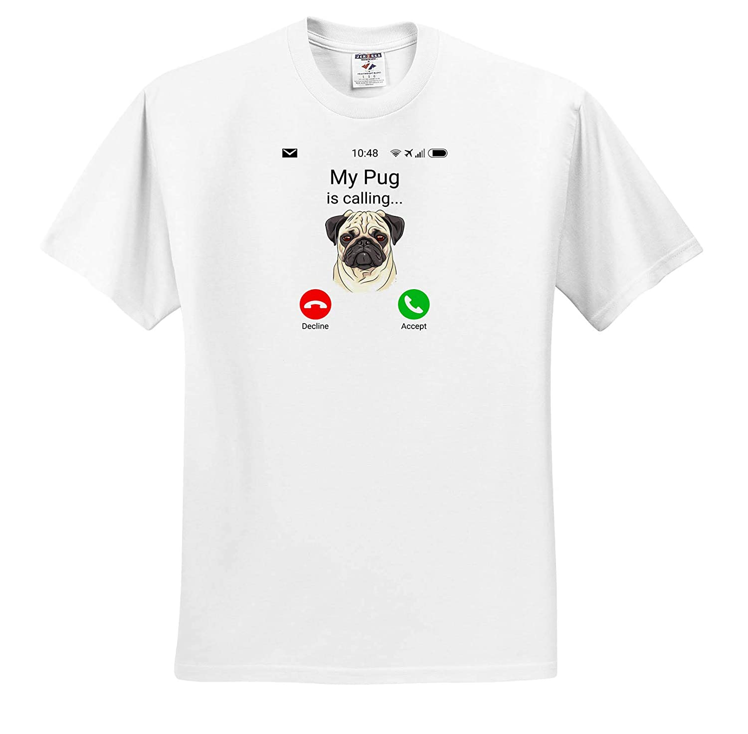 ts/_316053 3dRose Carsten Reisinger My Pug is Calling Funny Incoming Phone Call Adult T-Shirt XL Illustrations