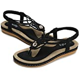 721308ad7269d5 Socofy Women s Flat Sandals Summer Clip Toe Flip Flops Thongs Bohemian  Style Beach Shoes with Wedge
