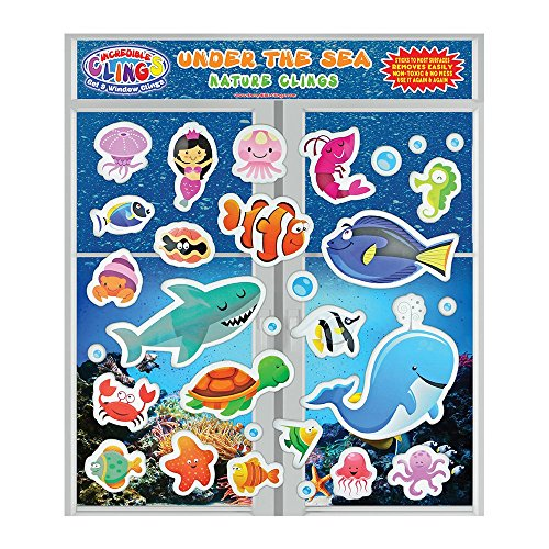Under the Sea Ocean (30 piece) Incredible Gel and Window Clings - Reusable Removable Puffy Sticker Pack for Kids and Toddler Boys and Girls - Underwater, Turtle, Mermaid, Shark, Whale, - Window Underwater