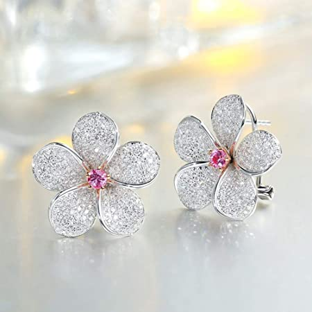 White /& Pink Flower Clusters Earrings