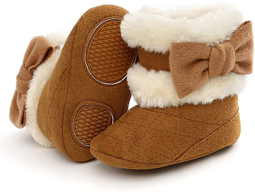 Fineser Infant Toddler Baby Girl Keep Warm Plush Soft Snow Boots Soft Cozy Fleece Crib Shoes 4 Color