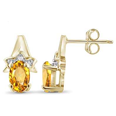Citrine And Accent White Diamond 14k Gold Over Silver Earrings Jewelexcess 0.90 Carat T.G.W