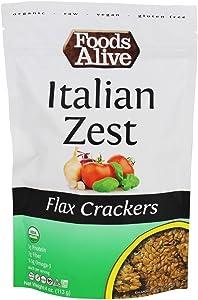 Foods Alive Organic Flax Crackers Italian Zest - 4 oz