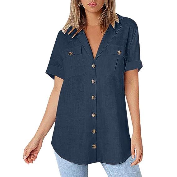 065ea42ad889 Geilisungren Camisetas Mujer Manga Corta, Cuello Alto de Solapa Blusas  Elegantes Fiesta Color sólido Top
