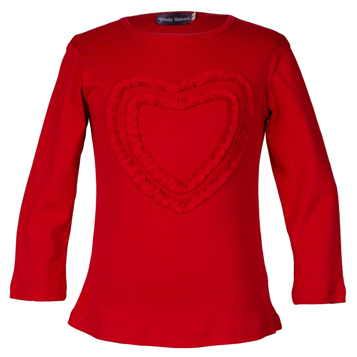 Girls' Ruffled Love Heart Long Sleeve Tee Shirts Top