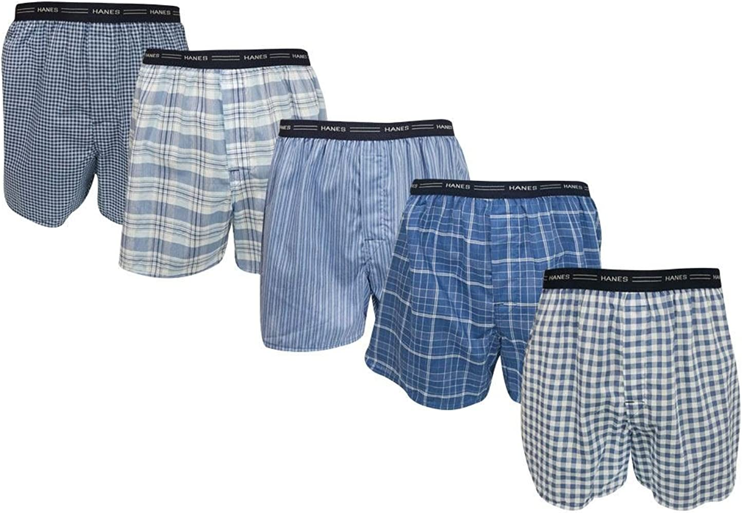 Tartan Boxer with Exposed Waistband Hanes Mens 5-Pack Tagless