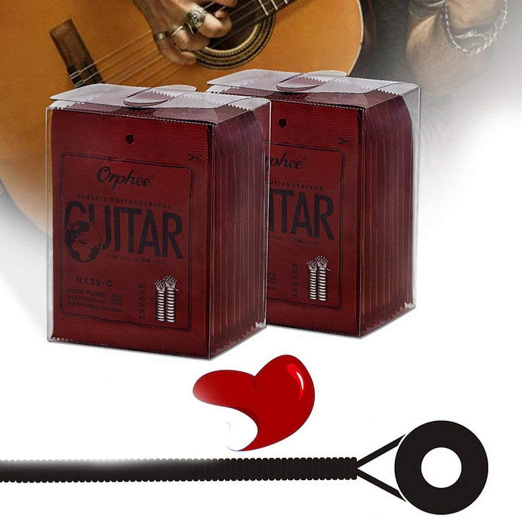 Orphee NX35-C Juego completo Cuerdas de guitarra cl/ásica cl/ásica de nylon negro Accesorios de guitarra de tensi/ón dura negro