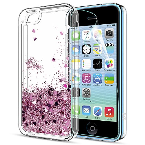 iPhone 5C Case,iPhone 5C Liquid Case with HD Screen Protector for Girls Women,LeYi Cute Design Shiny Glitter Moving Quicksand Clear TPU Protective Phone Case Cover for Apple iPhone 5C ZX Rose Gold