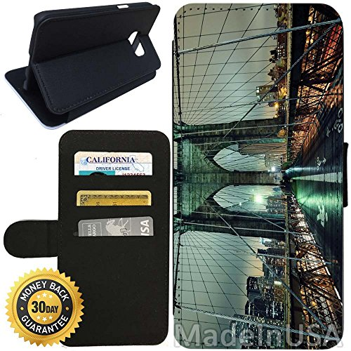 Flip Wallet Case for Galaxy S7 (Brooklyn Bridge NYC) with Adjustable Stand and 3 Card Holders | Shock Protection | Lightweight | Includes Stylus Pen by - Nyc Store Best Glasses