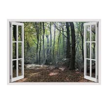 "Alonline Art - Trees In The Woods Fake 3D Window VINYL STICKER DECAL 49""x35"" - 124x89cm Stickers Artwork Wall Art Stickers For Kitchen Adhesive Vinyl Decal For Home Decor For Bedroom Vinyl Wall Decal"