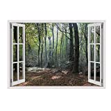 Alonline Art - Trees in The Woods Fake 3D Window Vinyl Sticker Decal 28''x20'' - 71x51cm for Home Decor Wall Stickers for Bedroom Wall Decor Sticker Vinyl Wall Decal for Kitchen for Living Room Artwork