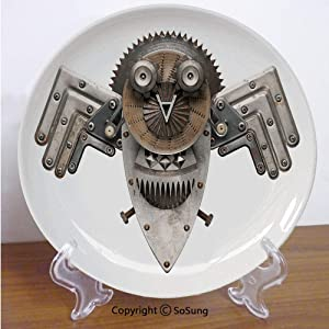 """Industrial 6"""" Ceramic Decorative Plate,Stylized Collage with Owl Figure Cog Hardware Gear Machinery Animal Print Decorative Grey White Brown,for Living Room, Bedroom, Hallway Console Side Table Decor"""