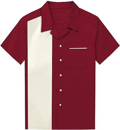 Camisa de Vestir de Manga Corta con Cuello en Color para Hombre Camisa de Bolsillo con Botones en la Parte Superior Blusa de Tirantes (Color : Rojo, Size : L): Amazon.es: Ropa
