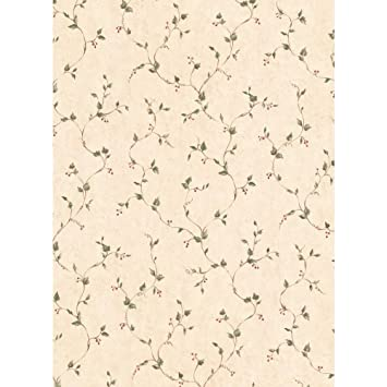 York Wallcoverings YC3408 Welcome Home Rose Hip Vine Wallpaper White Taupe Sage Green