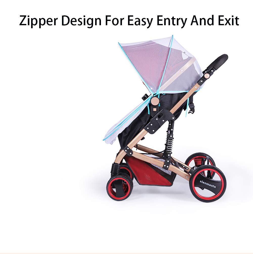 2-in-1 Baby Stroller Mosquito Net&Sun Shade Canopy,Baby Stroller Sun Shade Canopy,Universal Baby Sunshade,Sleep Aid for Pushchairs,Black by ACOMG (Image #3)