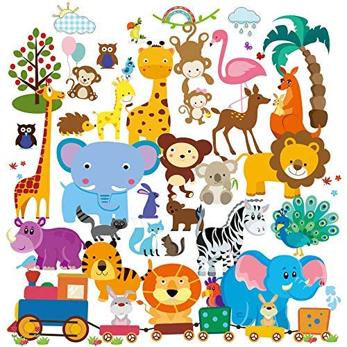 Baby Jungle Animal Wall Decals for Nursery: Multiple Decorative Peel and Stick Animal Train Removable Art Mural, Safari Animal Vinyl Stickers for Baby, Nursery & Children's ()