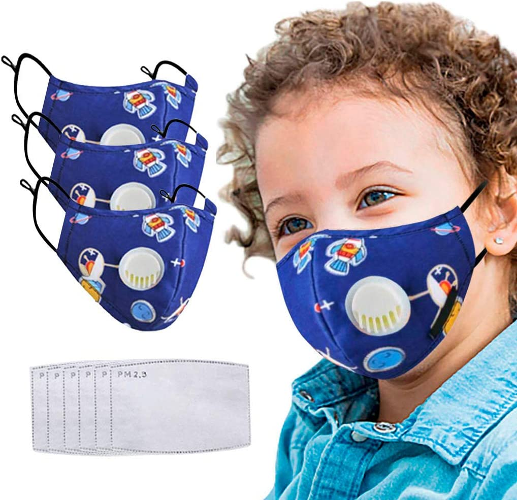 Kids Reusable Breathable Seamless Face Bandanas 3PCS Cartoon Face