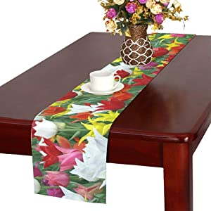 WBSNDB Tulips Holland Spring Nature Tulip Tulip Fields Table Runner, Kitchen Dining Table Runner 16 X 72 Inch for Dinner Parties, Events, Decor