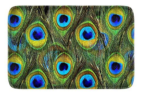 Newplenty Doormat Entrance Floor Rug Indoor Mat Non-slip Flannel for Bedroom Bathroom Living Room Kitchen Home Decorative 60x40CM (peacock feather)