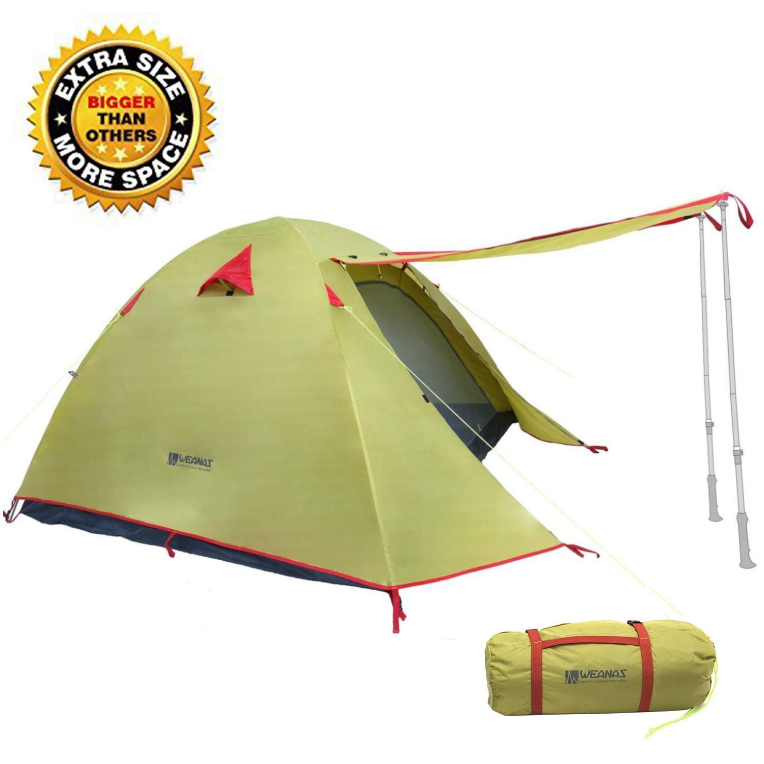 Weanas Professional Backpacking Hunting Tent Outdoor 2 2-3 3 4 Person 3 Season Weatherproof Double Layer Large Space Aluminum Rod for Outdoor Family Camping Hunting Hiking Adventure Travel (Green, 2-3 Person) [並行輸入品] B079WQT25C, セキチョウ:e5a0e018 --- ijpba.info