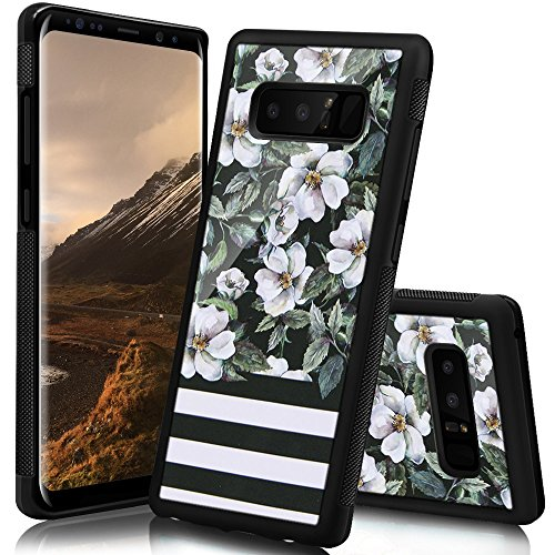 (Ademen Samsung Galaxy Note 8 Case, Flower Stripes Design Hard PC Soft Silicone Protective Durable Shockproof Case For Samsung Galaxy Note8)