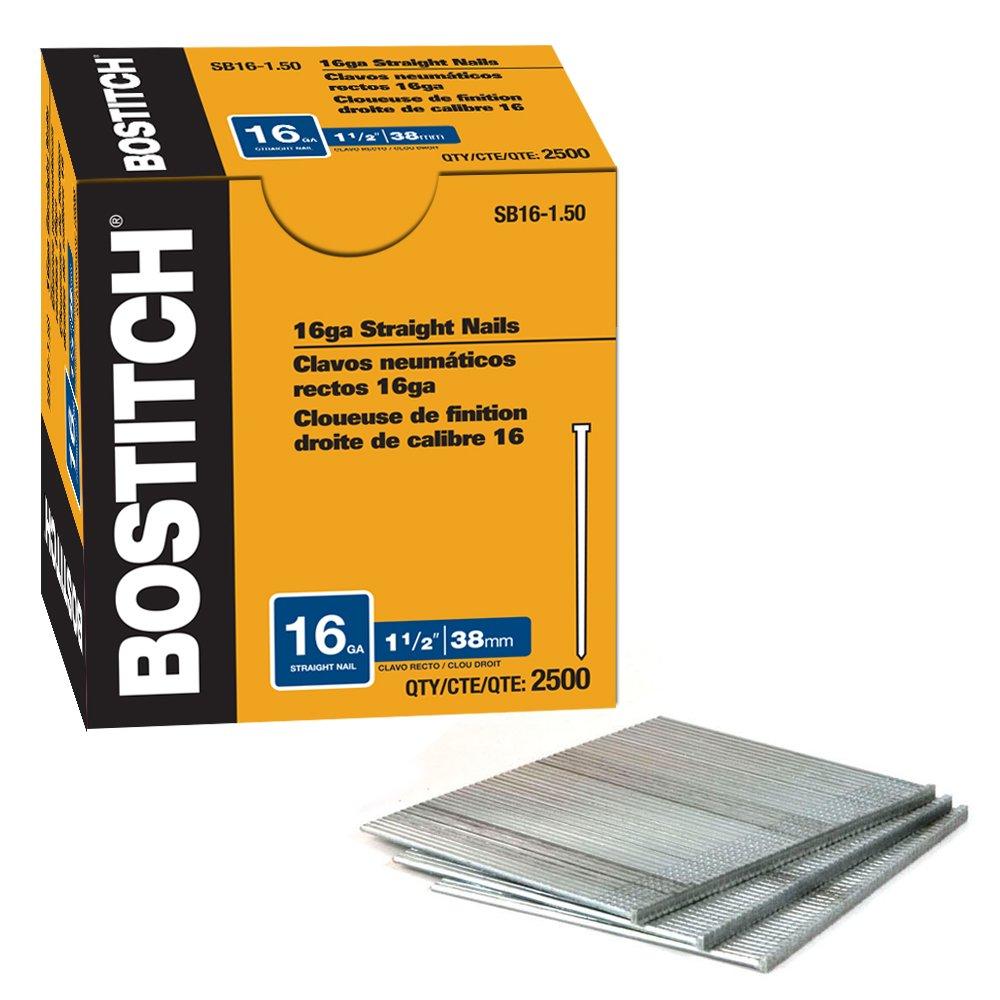 BOSTITCH SB1615SS 1.5-Inch 16-Gauge SS Brad Nailer, 500-Pack