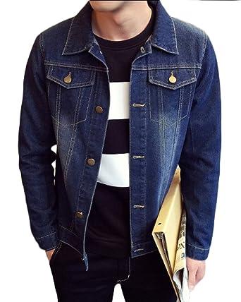 Yonglan Herren Basic Jeansjacke Lange Ärmel Lose Beiläufige Outwear Revers Einfarbig  Denim Mantel Dunkelblau 3XL 3e2135ef6e