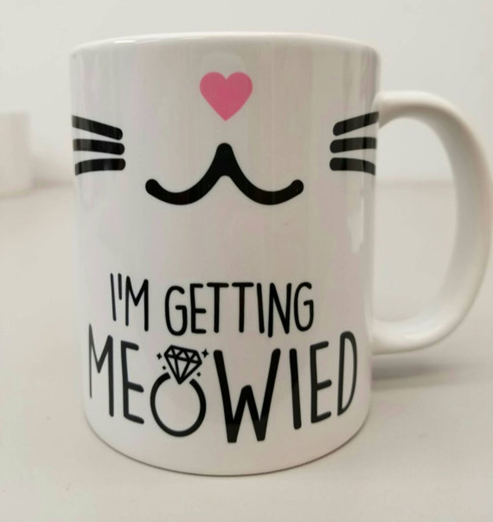 Best quality ceramic mug Dishwasher safe Microwave safe I'm getting Meowied coffee mug with ring, wedding mugt