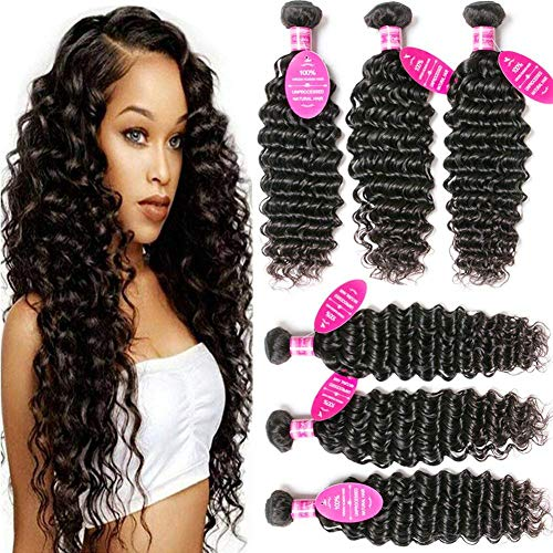Younsolo Deep Wave 3 Bundles with Closure 8A Grade 100% Unprocessed Virgin Remy Brazilian Human Hair Extension Deep Wave Bundles Natural Color Can Be Dyed and Bleached