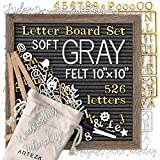 ARTEZA Gray Felt Letter Board Set, 10x10 Inches, with 526 Changeable Letters, 164 Symbols, 33 Cursive Words, Wooden Stand, Scissors & Storage Bag, Message Board for Signs, Decor & Menus (Color: Gray, Tamaño: 10x10 Inch)