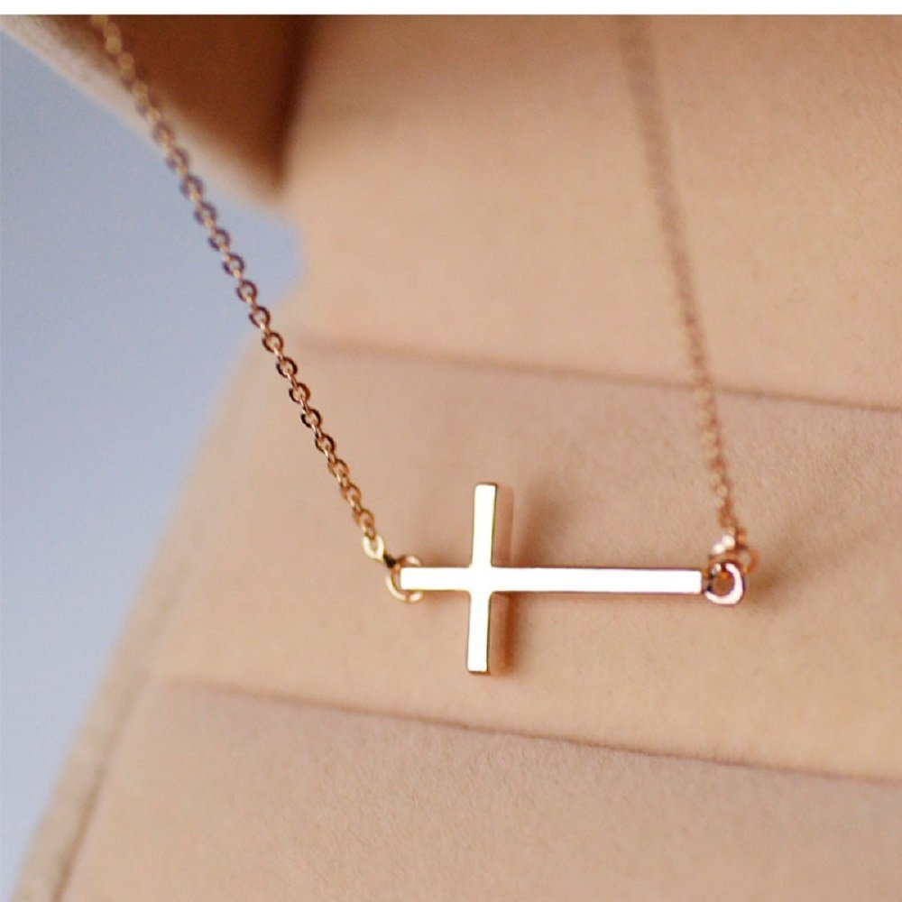 Sideways Cross Necklace 18k Gold Plated Stainless Steel Simple Small Cross Pendant From Ghome Offer Silver or Gold Color 18 Inches for Women Girls with Gift Box (Rose Gold)