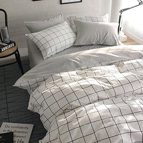 VClife Queen/Full Duvet Cover Set Cotton Bedding Set Collection with 2 Pillow Shams Grey White Checkered Style