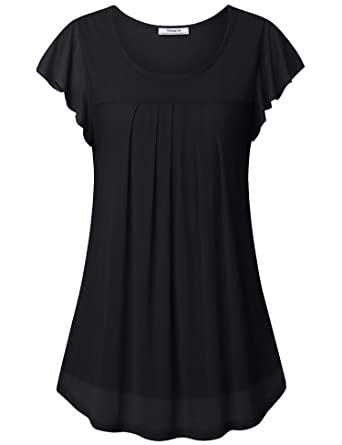 95c13d8a Youtalia Womens Tops for Leggings, Ladies Ruffle Sleeve Blouses Tops Summer  Round Neck Shirt Comfy