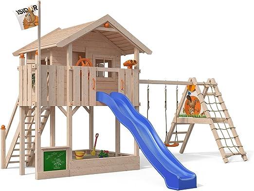 ISIDOR Wonder Wow Parte Torre con ampliado Balancín Cultivo, XXL Tobogán, Caja de Arena, Balcón, escaleras en 1,50 m Altura de Porche: Amazon.es: Jardín