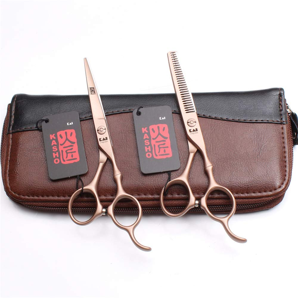 NSST Professional Barber Scissor Set, Bamboo Handle Rose Gold, Japanese Sharp Stainless Steel Flat Shear Thinning Shears Suitable for Families and Hairdressers,6Inch