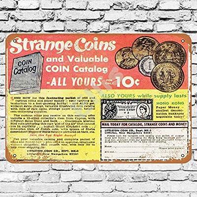 Ellis 1967 Strange Monedas y catálogo para 10 centavos Vintage Retro Metal Estaño Sign Decoración de Pared para Store Man Cave Bar Home Garage: Amazon.es: Hogar