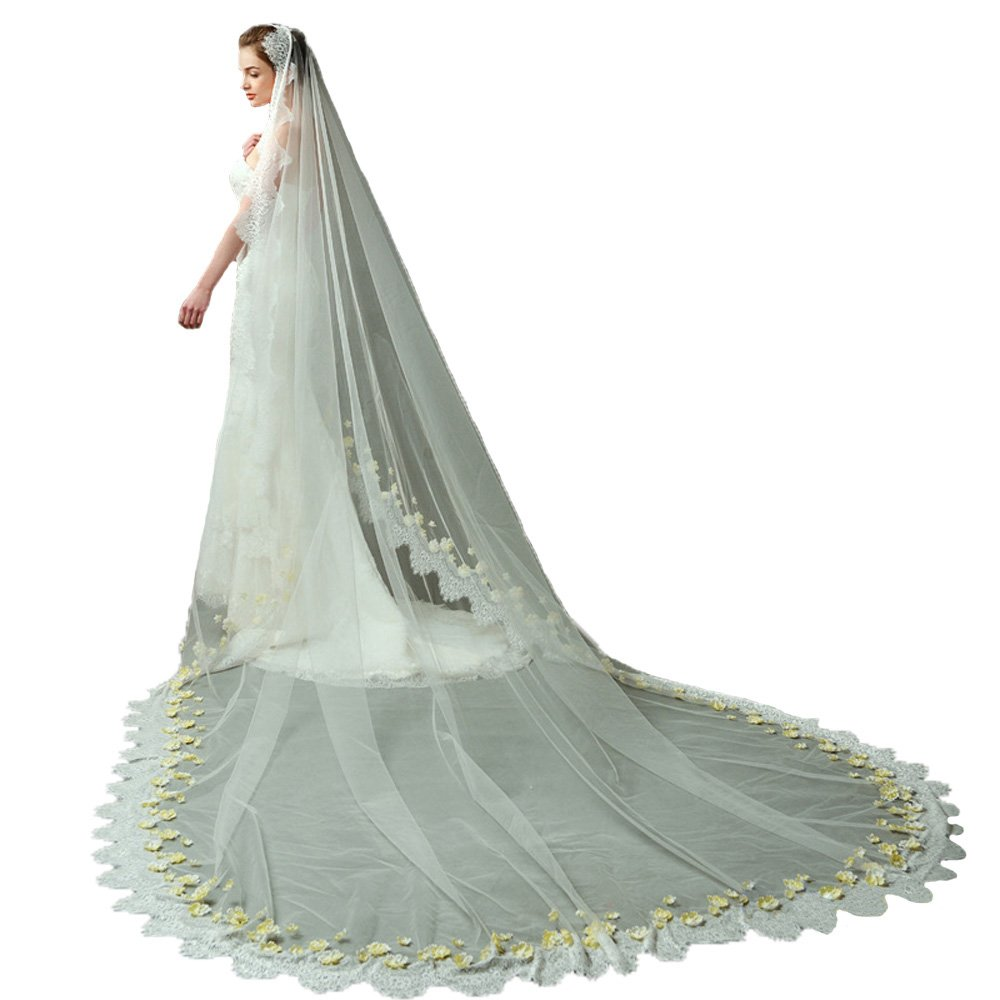 AliceHouse Champagne Wedding Veil 1T Elegent Lace Flowers Long Bridal Veil 098