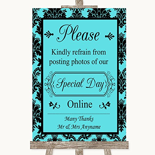 Blue Damask Photo Card - Tiffany Blue Damask Don't Post Photos Online Social Media Wedding Sign